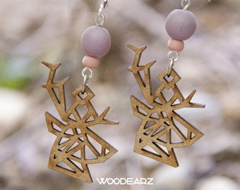 Wood WOODEARZ deer earrings