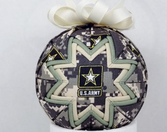 Army Quilted Ornament Patriotic Tan and Light Green (Q229)