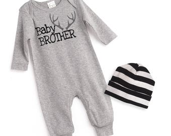 Newborn Boy Coming Home Outfit, Baby Brother Romper Outfit, Baby Boy Coming Home Outfit, Little Brother Baby Outfit, TesaBabe