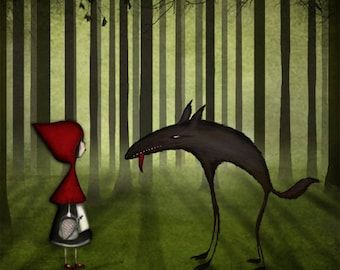 Little red riding hood - Art print (3 different sizes)