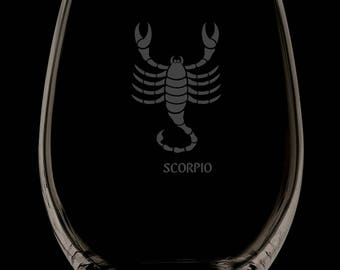 Scorpio 13 Ounce Personalized Stemless Wine Glass