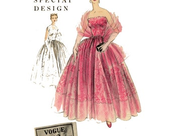 1950s Vogue Special Design 4513 Evening Dress Pattern Bust 34 Strapless Wedding Bridal Prom Gown UNCUT Womens Vintage Sewing Patterns