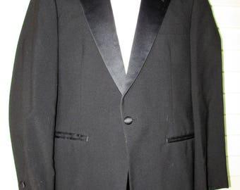 Vintage Tuxedo Jacket Blazer 1980s After Six Black Wool Satin Lapel Hipster Suit Coat 38R