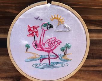 Flamingo (Friday) Mini Hoop Wall Art