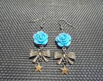 """Earrings """"Flower"""" bronze and resin"""