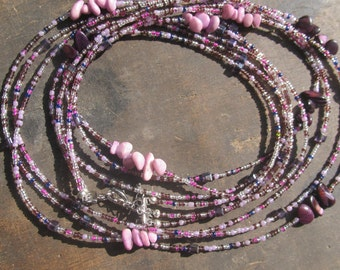 Custom made set of 3 strands waist beads, purple color, crystals, natural stones, read item details and leave size