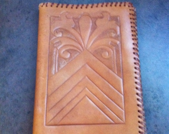 Vintage Journel Cover - Tooled Brown Leather - Book Case - Leather Strapping