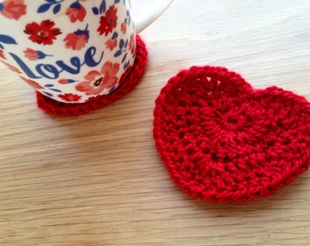 Pair of heart shaped crochet coasters tea cup coffee cup