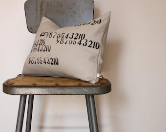 Numbers Pillow as seen in The House that Pinterest Built Book by Diane Keaton Letterpress printed pillow