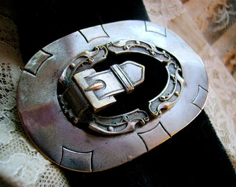 Antique Repousse BUCKLE Brooch, English Silver Buckle Pin, Sash Buckle Pin Jewelry gift for her