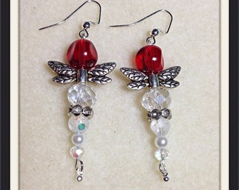Dragonfly earrings, red, pearl and crystal