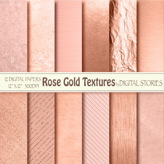 Rose Gold Digital Paper Rose Gold Textures Golden