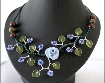 Custom made blue and Green Flower necklace