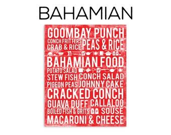 Bahamas Poster - Bahamian Poster - Bahamas Print - Bahamas Art - Bahamian Food Subway Art Print - Bahamas Wall Art - Bahamas Decor - Bahamas