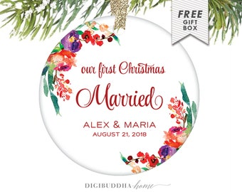 Our First Christmas Married Personalized Ornament Wedding, Newlywed Ornament Christmas Gift, First Christmas Mr and Mrs, Married Ornament