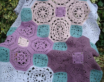 Beautiful throw in purple and blue 80x55cm