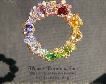 Flower Rainbow One 18K SOLID Gold Jewelry Pendant [ H68 ]