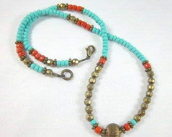 Southwestern Necklace, Turquoise and Coral Necklace, Dainter Style Necklace,  Short Necklace,Faceted Bronze Beads,  Easy Wear