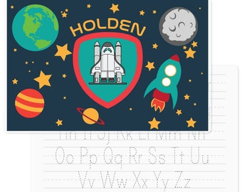Space Placemat | Personalized Kids Placemat | Laminated Placemat | Handwriting Practice | Table Setting Placemat | Activity Placemat |