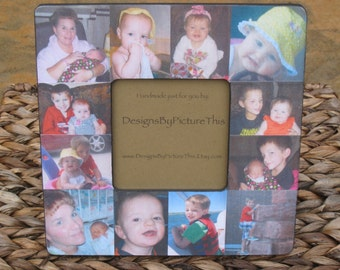 """Baby's First Year Collage Picture Frame, Unique Custom Baby Picture Frame, Personalized Picture Frame, Unique Father's Day Gift, 8"""" x 8"""""""