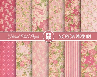 Pink Floral Digital Paper, Shabby Chic Digital Paper Pack, Vintage Scrapbook Paper, Roses Scrapbook Paper Pack  - INSTANT DOWNLOAD  - 1970
