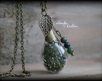 Antique bronze vials necklace with dried twigs and moss agate beads