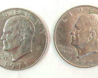 Silver Dollar, 1971 Eisenhower Coin, 1972 Eisenhower Silver Dollar, Collectible Coins, Set of 2 Collector Coins, Silver One Dollar Coin