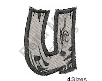 Letter U - Machine Embroidery Design, Drift Type Font, Monogram