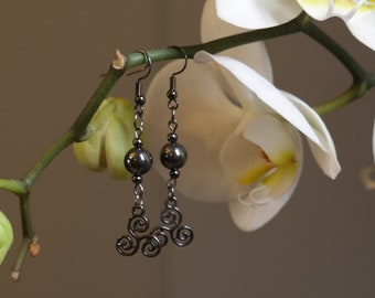 Triskelion and Hematite Earrings