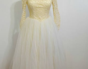 1950's Lace Tulle Boat Neck Wedding Dress Gown And Veil Set Handmade