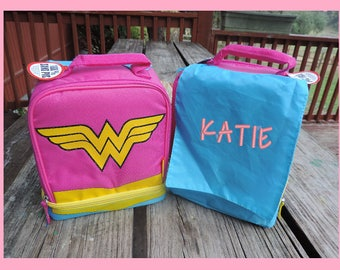 Wonder Woman Lunch Box Complete with Personalized Cape - Super Hero!  Batman available also.