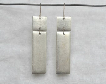 Rectangular Tag Earring, Silver