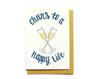 Wedding Card - Cheers to a Happy Life - Wedding - Congratulations Champagne Glass Toast
