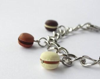 Chocolate macaron charm bracelet tiny macaron charms chain charm bracelet adjustable silver with kawaii macarons