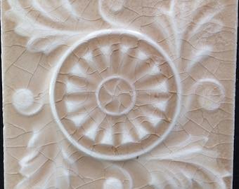 """5 Vintage Tiles, 4x4"""", Floral Medallion"""