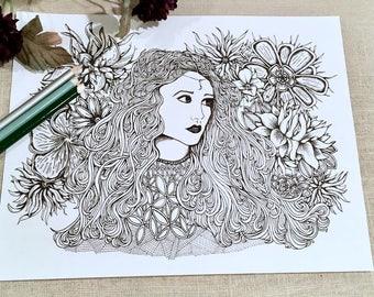 Adult Coloring Page Lady Moon Original Art Floral Illustration