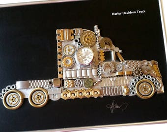 Antique Truck Photography-Harley Davidson Truck Code M 053-Steampunk Truck-Gifts for Brother-Luxury Gifts for men-Professionally Framed