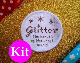 Glitter: the herpes of the craft world - patch kit - DIY patch - stitchable patch - cross stitch kit