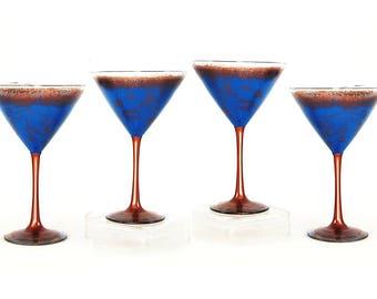 Martini Gift Set 4 Martini Glasses Copper Blue Glasses Retirement Gift Idea Housewarming Glass Birthday Gifts Under 100 8th Anniversary