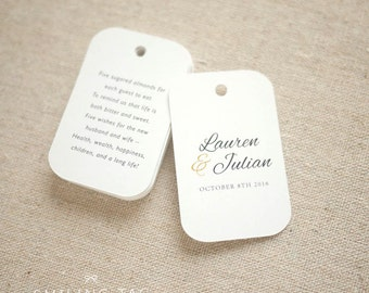 Sugared Almonds Personalized Gift Tags - Jordan Almond Favor Tags - Wedding Favor Tag - Wedding Bomboniere - Set of 20 (Item code: J549)