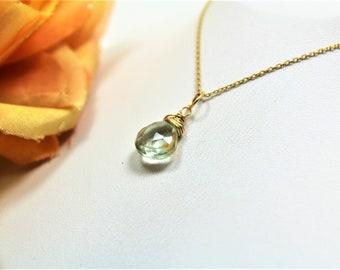 Green Amethyst Gemstone Necklace Wire Wrapped Pendant Handmade Jewelry by Adonia Jewelry AJSW302
