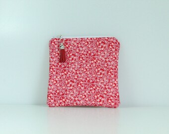 Red Flower Vines Notions Pouch/ Purse
