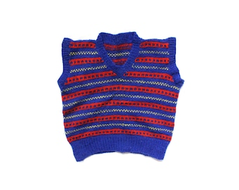 vintage boys sweater vest handmade clothing primary colors 1950s red blue yellow size 4 5