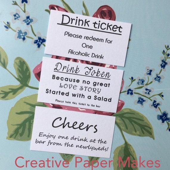 Hochzeit Getränke Schein Ticket für ein Getränk
