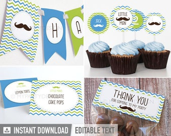 Mustache / Little Man Birthday Party Pack - Green and Blue - INSTANT DOWNLOAD - Printable PDF with Editable Text