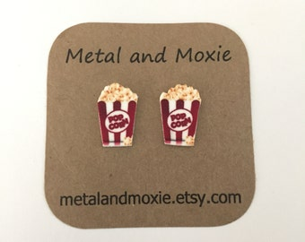 Popcorn Stud Earrings,  Movie Theater, Snack Food, Under 10 Dollars, Jewelry Gift