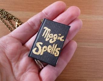 Mini spell book, magic spells, book necklace, spell book, miniature book, book jewellery, mini magic book