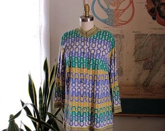 womens XL 1960s cardigan with novelty print & mandarin collar . stitch print sweater by Frederick Altmann, made in Austria, wool rayon blend