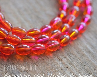 Bi color red and Fuchsia x 20 oval glass beads