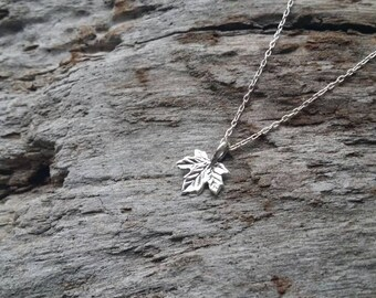 Tiny Sterling Leaf Charm, Silver Necklace, Sterling Silver, Tiny Leaf, Leaf Necklace, Dainty, Silver Leaf